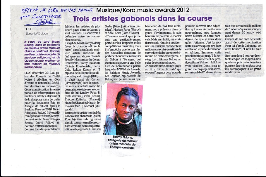 Ékomy nominé aux Koras 2012